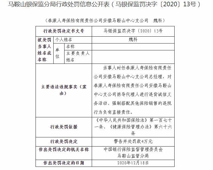 强制搭配其他保险销售 泰康人寿保险马鞍山中心支公司被罚